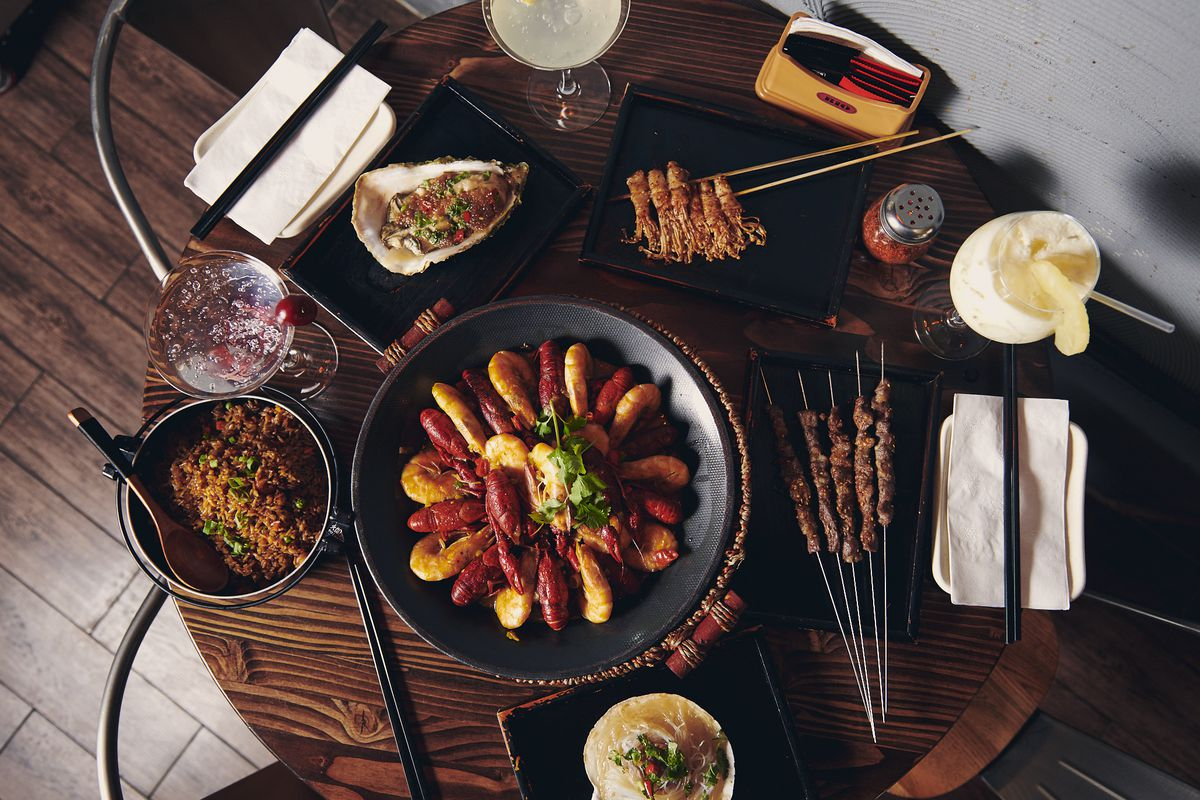 A dinner spread at Le Sia