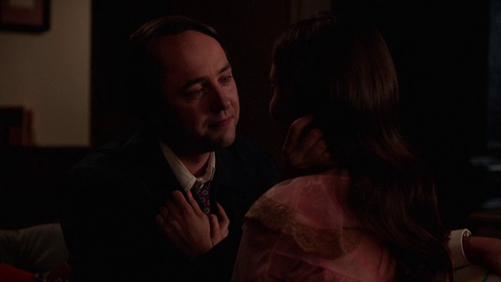 Pete and Trudy reconcile on Mad Men.