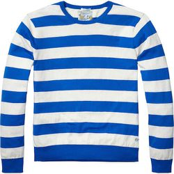"""<strong>Scotch & Soda</strong> Striped Crewneck Pullover in Dessin F, <a href=""""http://webstore-us.scotch-soda.com/men/pullovers-cardigans/striped-crew-neck-pullover/14010260032.html?dwvar_14010260032_color=dessin%20F#start=7&cgid=1011"""">$69</a>"""