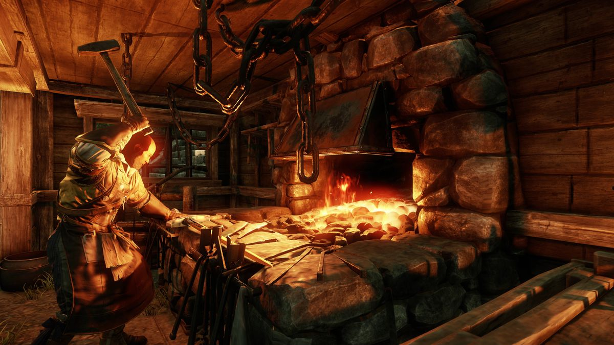 New World - a blacksmith hammers out his work on the forge