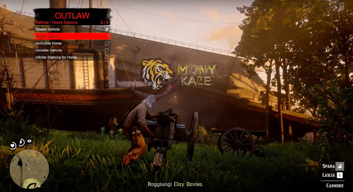 A Red Dead Online player uses a mod menu to spawn all sorts of vehicles.