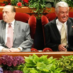 President Thomas S. Monson and President Dieter F. Uchtdorf attend the General Relief Society Meeting at the Conference Center on Temple Square in Salt Lake City on Saturday, Sept. 29, 2012.