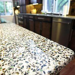 Karen and Wayne Tenebaum, of Kansas City, Mo., remodeled their kitchen to have a modern feel using EnviroGLAS countertops.