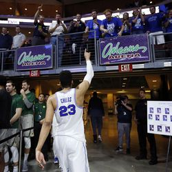 Brigham Young Cougars forward Yoeli Childs recognizes the fans as he leaves the court following West Coast Conference basketball against the San Diego Toreros in Las Vegas on Saturday, March 3, 2018.