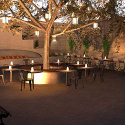 Rendering of the beer garden at the rear of Park On Fremont.