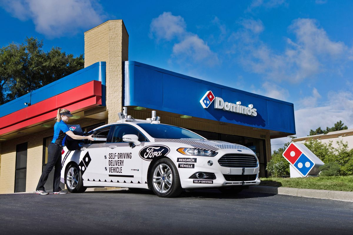 An autonomous Ford Fusion will deliver Domino's in MI