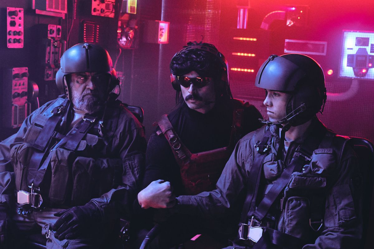 Dr Disrespect stands near two soldiers in his Twitch announcement video
