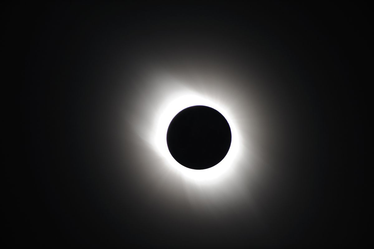 The corona shines through a total solar eclipse in Japan, 2009