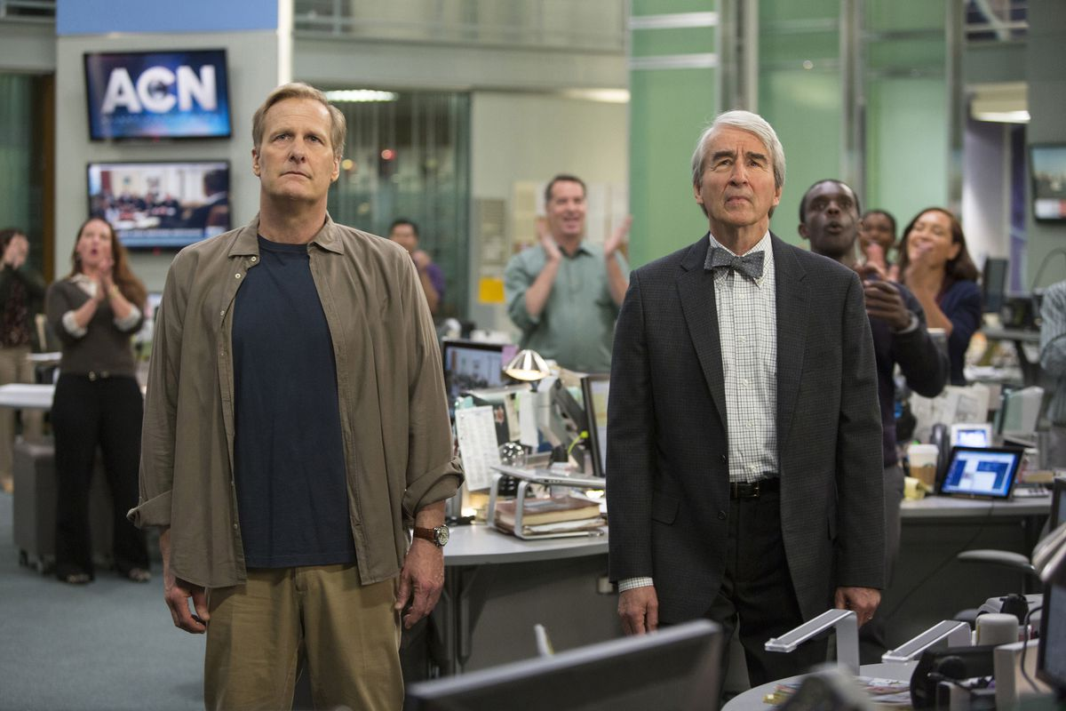 Will (Jeff Daniels, left) and Charlie (Sam Waterston) take in some bad news in the third season premiere of The Newsroom.