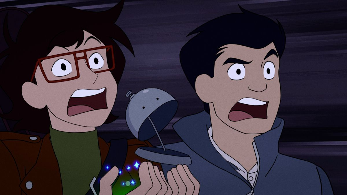 ryan and min-gi screaming, while holding Kez the floating bell