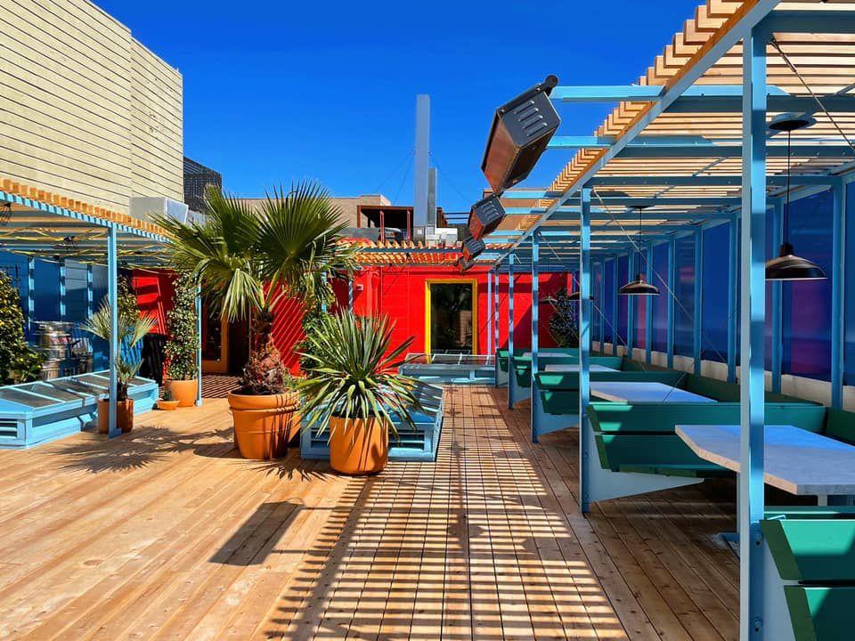 Rainbow rooftop at Liholiho Yacht Club