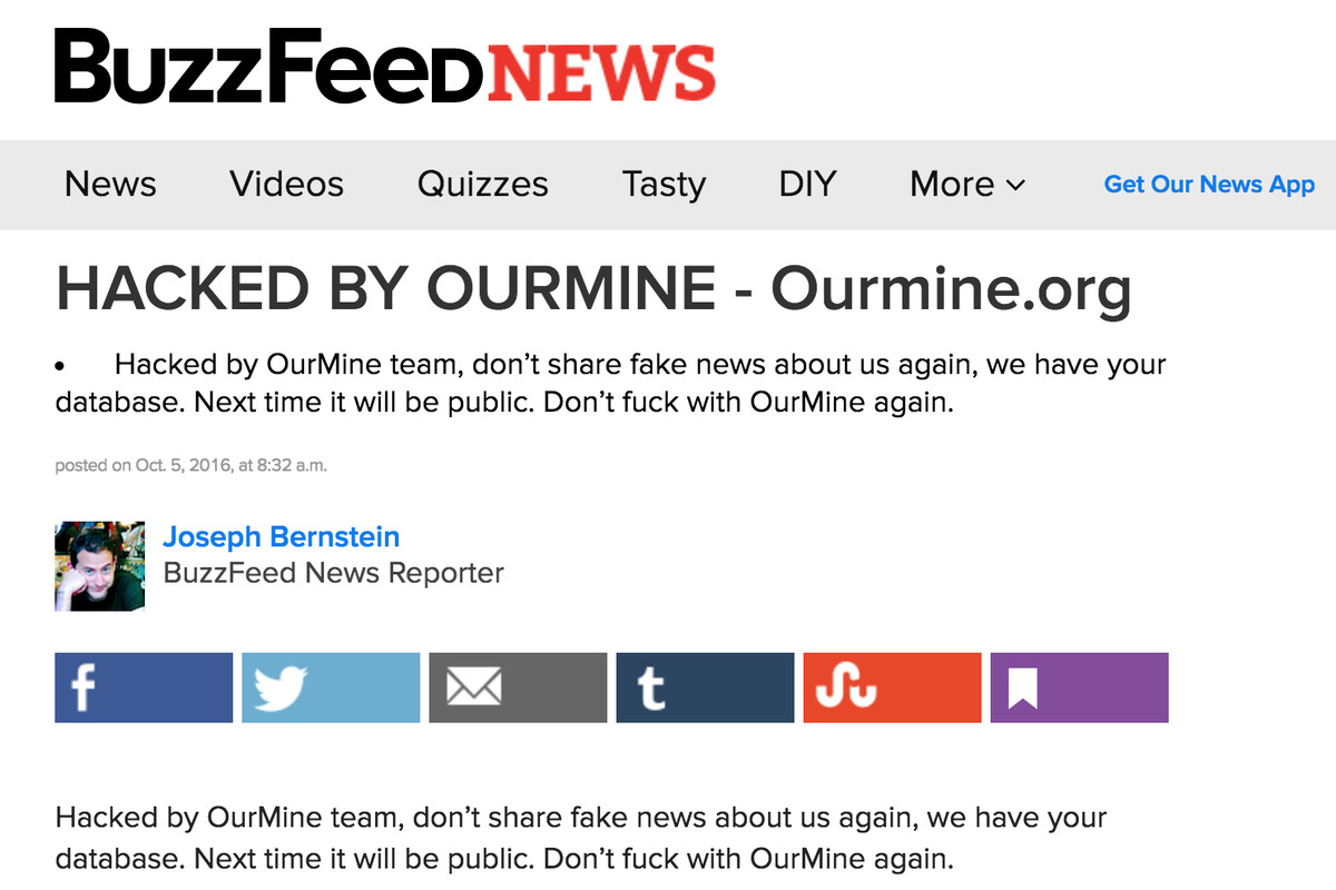 BuzzFeed vandalized by hacking group after exposing alleged member ...