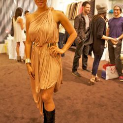 Alexis Phifer in one of her own creations (and boots by Halson)