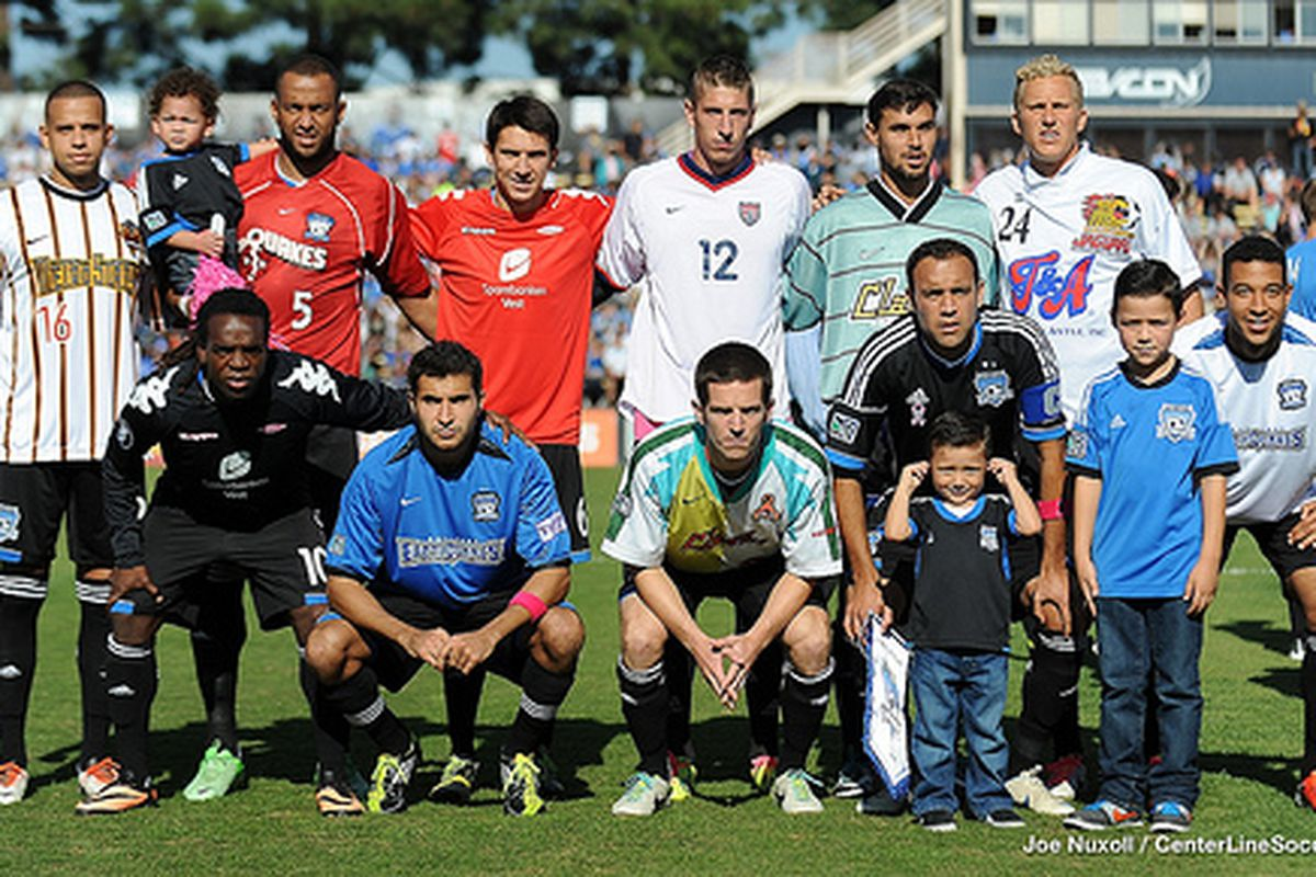 Members of the San Jose Earthquakes pay tribute to Ramiro Corrales by wearing jerseys from thoughout the MLS Original's 18-year career
