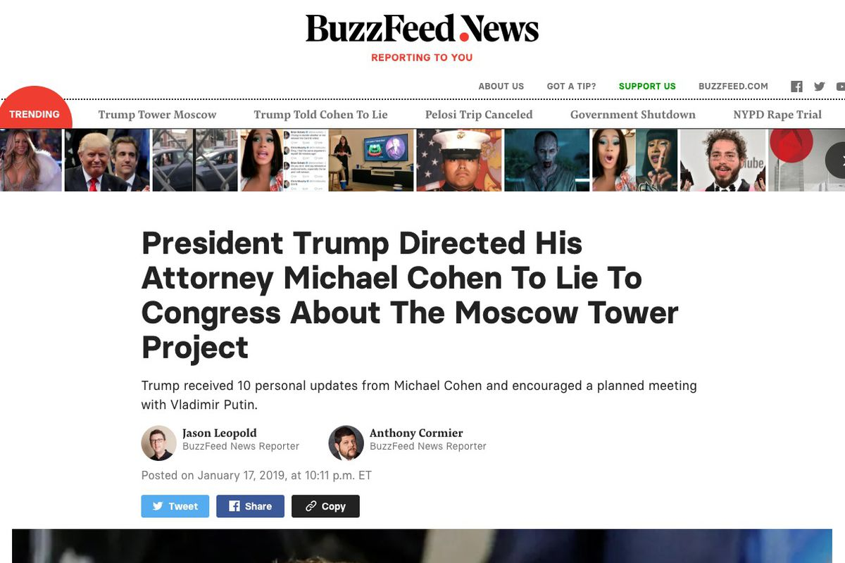 BuzzFeed publishes 'bombshell' report on President Trump and