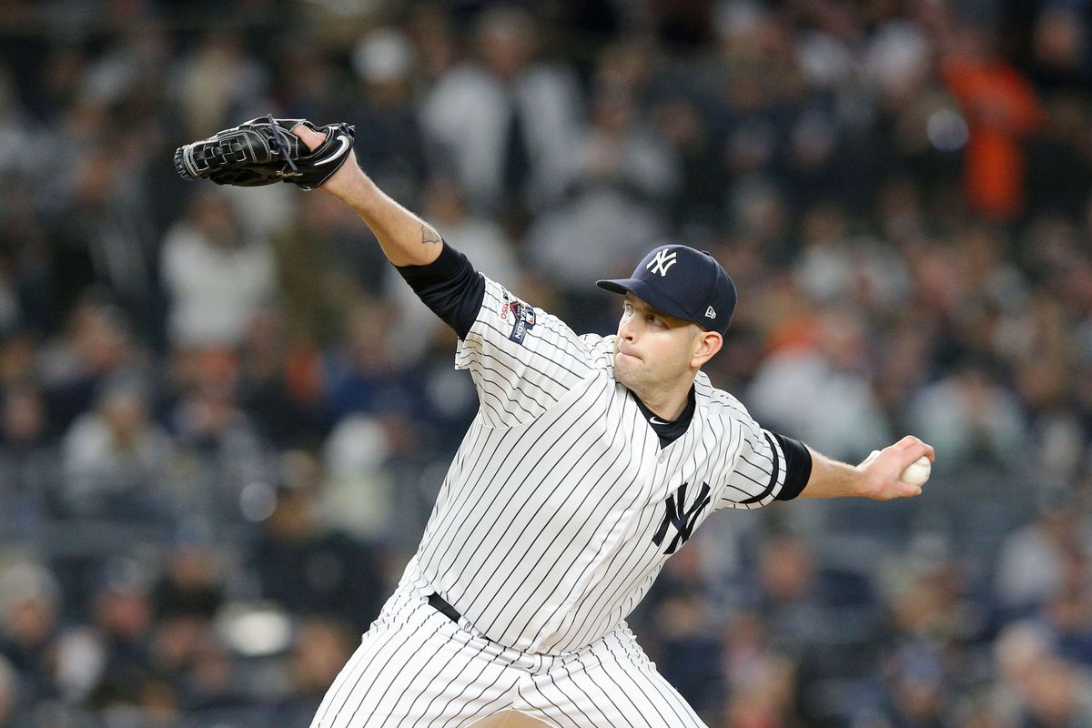 New York Yankees starting pitcher James Paxton pitches against the Houston Astros during the fifth inning of game five of the 2019 ALCS playoff baseball series at Yankee Stadium.