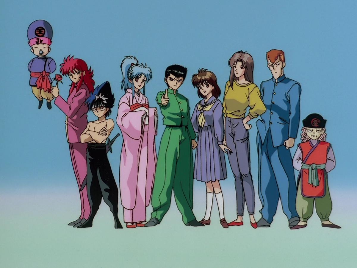 From left: Koenma, Kurama, Hiei, Botan, Yusuke Urameshi, Keiko, Shizuru, Kuwabara, Kazuma Kuwabara, and Genkai from the 1992 Yu Yu Hakusho.