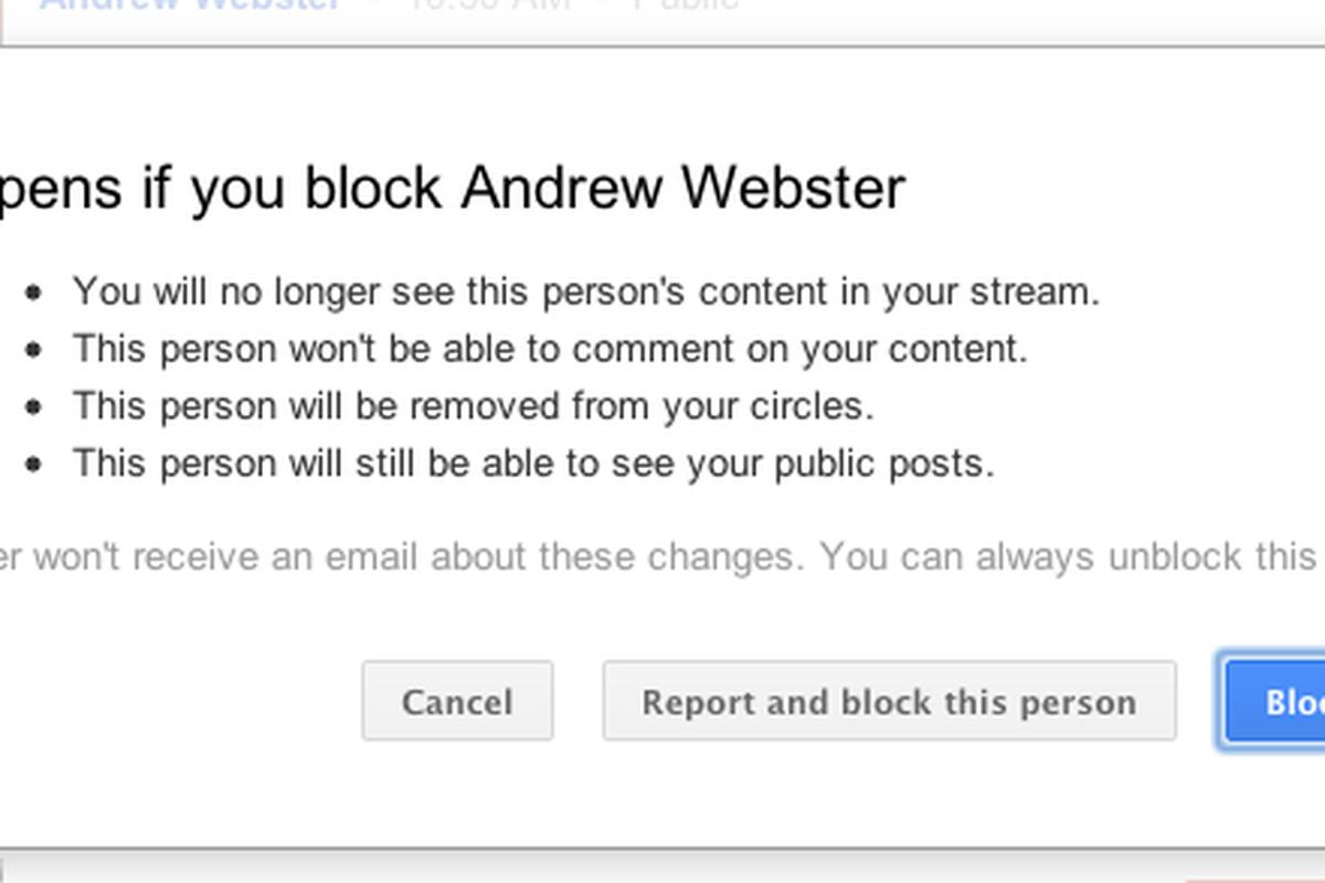 Google+ block