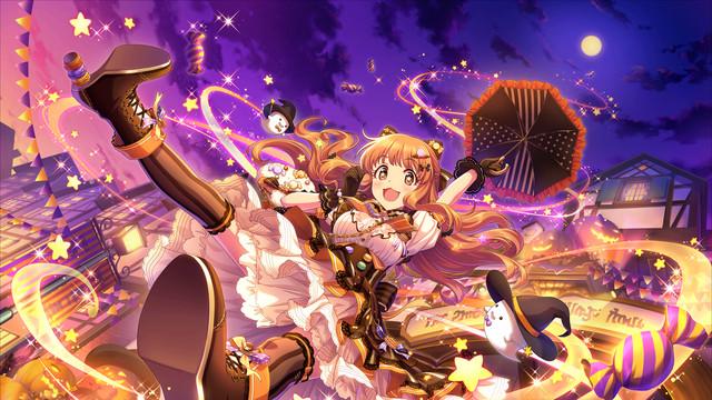 Kirari Moroboshi soars through the hair in a Halloween-themed lolita dress