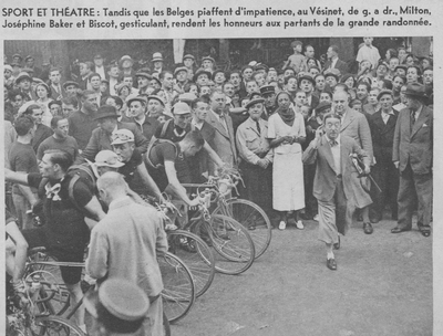 Georges Biscot trying to call the riders into order for the start of the 1937 Tour.