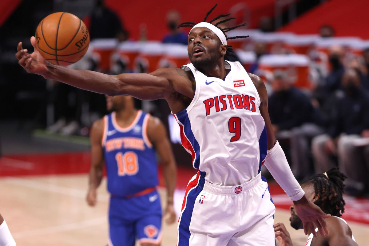 Jerami Grant of the Detroit Pistons grabs a rebound against the New York Knicks during the first half at Little Caesars Arena on February 28, 2021 in Detroit, Michigan.
