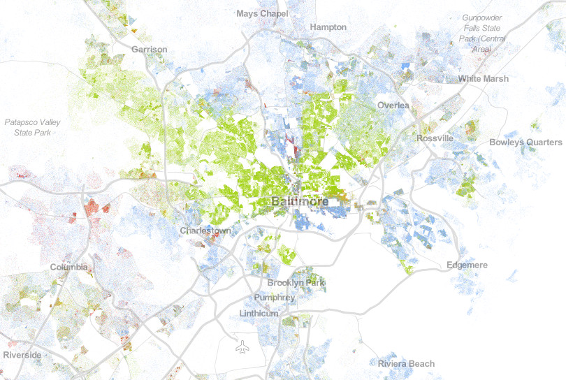 A map of racial segregation in Baltimore.