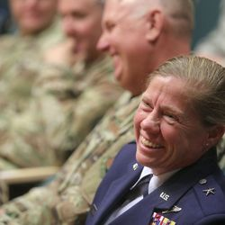 Utah Air National Guard Brig. Gen. Christine Burckle listens to a speaker during her retirement ceremony at the Roland R. Wright Air National Guard Base in Salt Lake City on Thursday, Aug. 29, 2019.