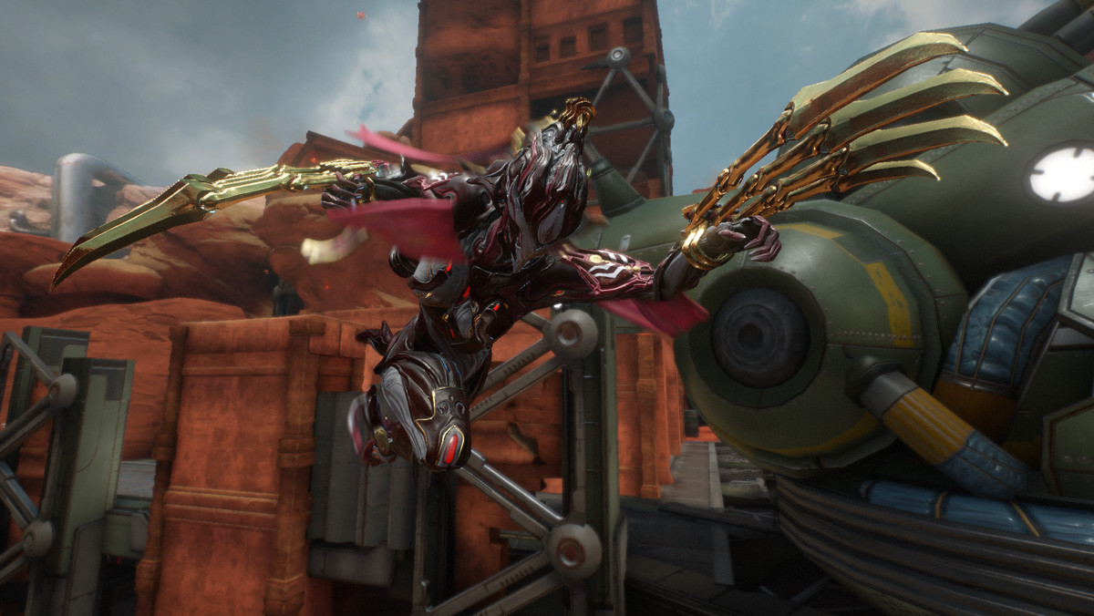 Warframe - Garuda swings through the air with her claws extended.