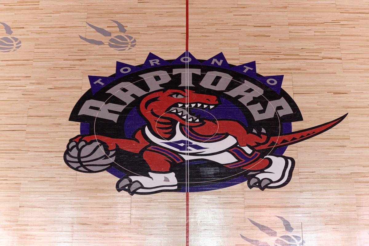 Overall view at Scotiabank arena court with retro logo of Toronto Raptors during the Toronto Raptors vs Atlanta Hawks NBA regular season game at Scotiabank Arena on January 28, 2020 in Toronto, Canada.