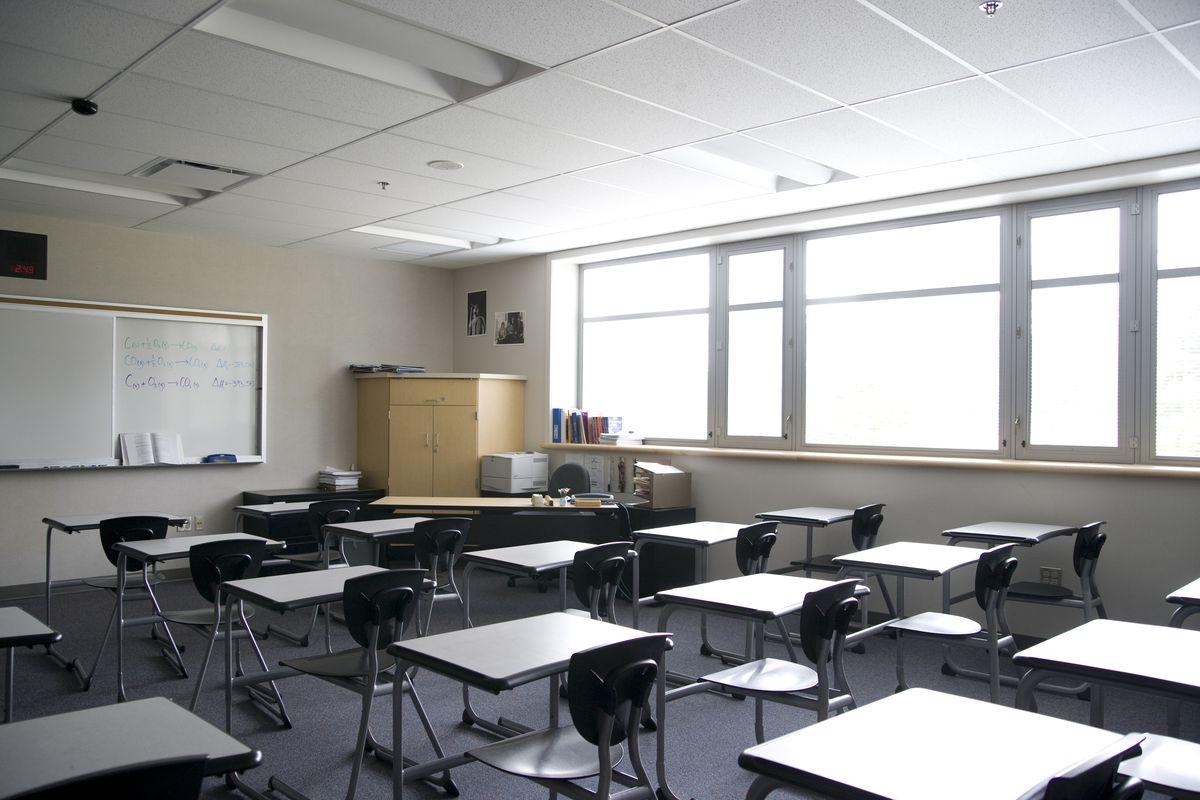 An empty high school classroom.