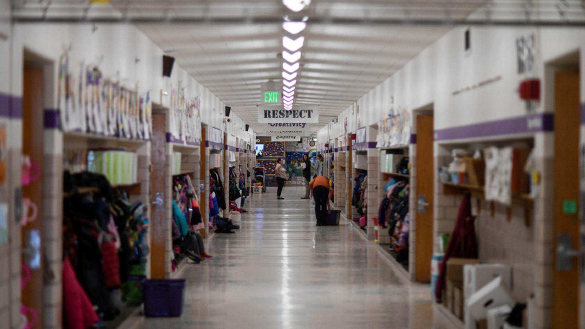 An elementary school hallway.