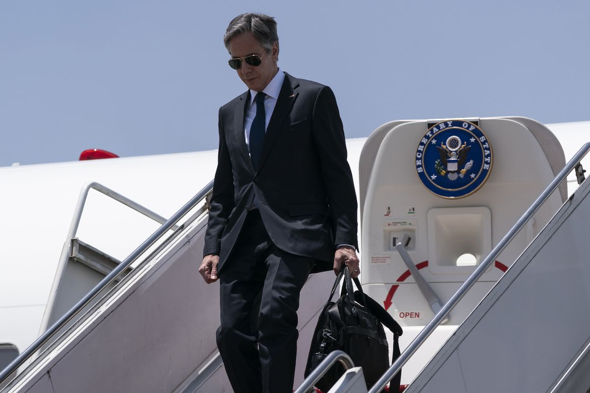 Secretary of State Antony Blinken steps off his plane upon arrival at Cairo International Airport, Wednesday, May 26, 2021, in Cairo, Egypt.