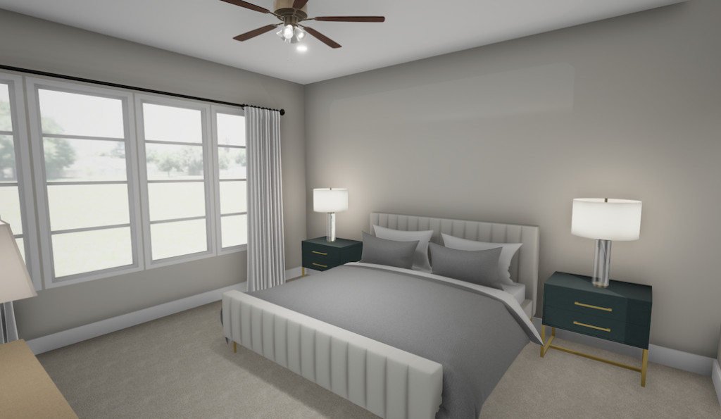 A rendering of a townhome's bedroom wit a gray bed.