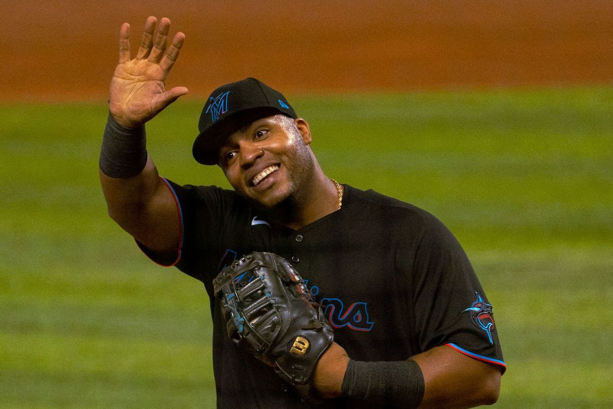 Marlins first baseman Jesús Aguilar waves to the fans at LoanDepot Park in Miami, Florida