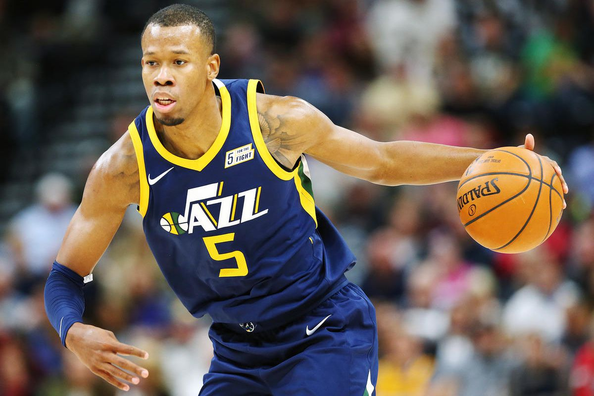 Utah Jazz guard Rodney Hood (5) looks for an opening as the Utah Jazz and the Chicago Bulls play an NBA basketball game at Vivint Arena in Salt Lake City on Wednesday, Nov. 22, 2017.