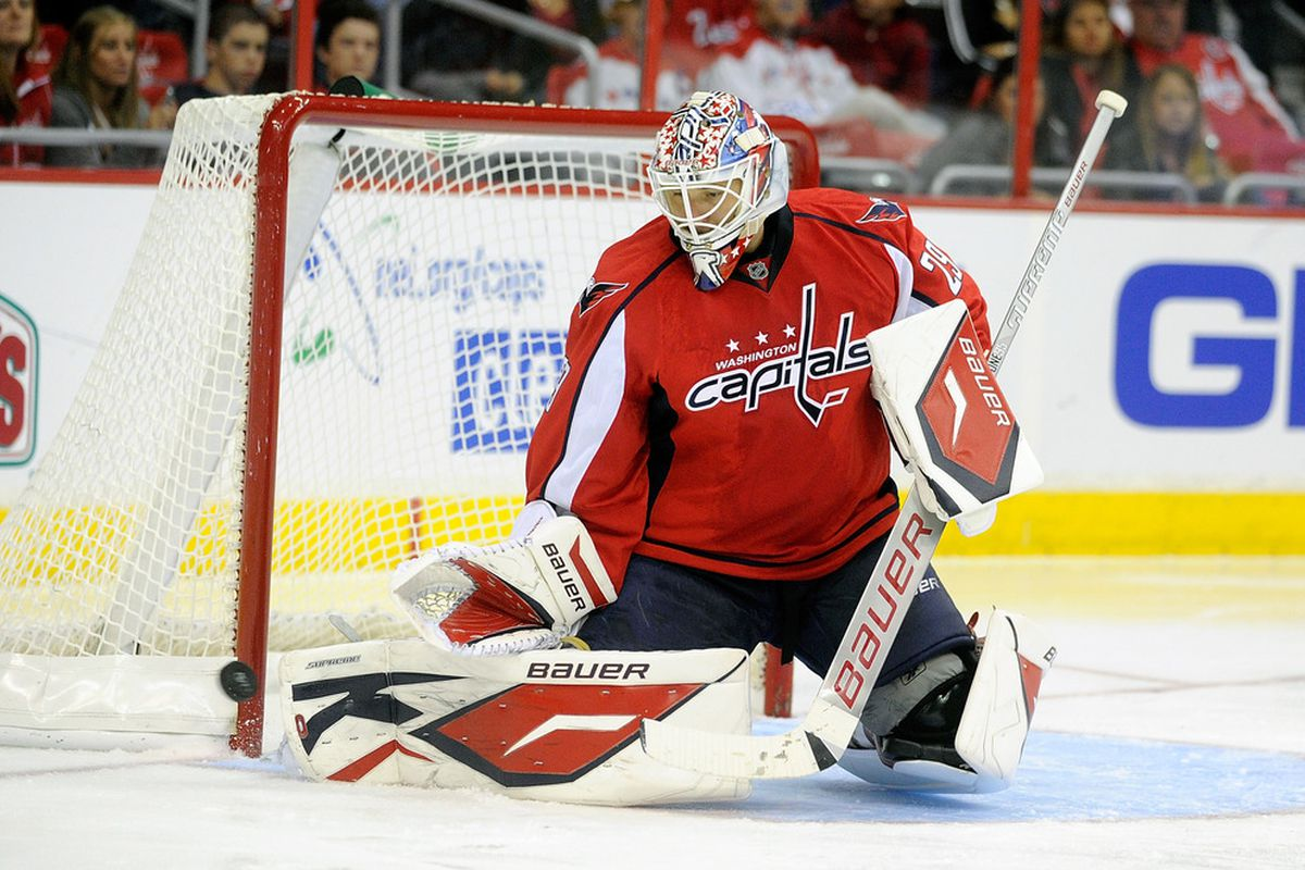 WASHINGTON, DC - SEPTEMBER 30:  Tomas Vokoun #29 of the Washington Capitals makes a save against the Buffalo Sabres at the Verizon Center on September 30, 2011 in Washington, DC.  (Photo by Greg Fiume/Getty Images)
