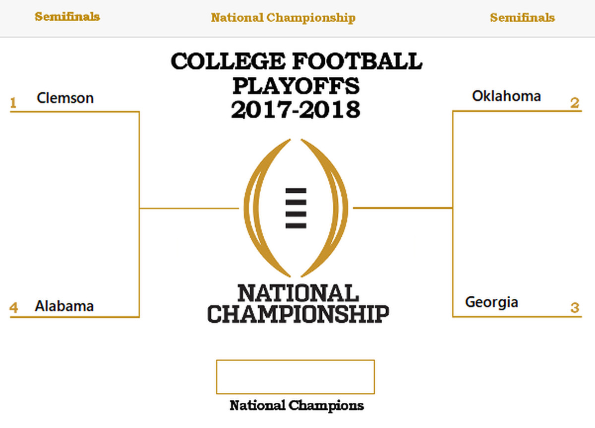 College Football Bowl Bracket 2017 >> College Football Playoff 2018 Bracket Set - A Sea Of Blue