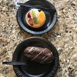 Kneaders' eclair and fruit tart before the sampling began.