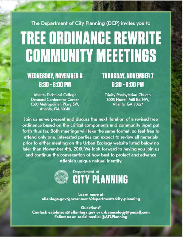 A flyer announcing two community meetings for public feedback.