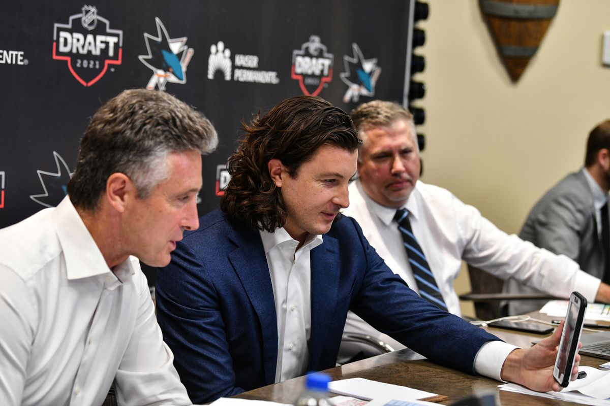 San Jose Sharks General Manager Doug Wilson and Director of Scouting Doug Wilson Jr. facetime William Eklund the seventh overall in the first round during the 2021 NHL Draft at SAP Center on July 23, 2021 in San Jose, California.