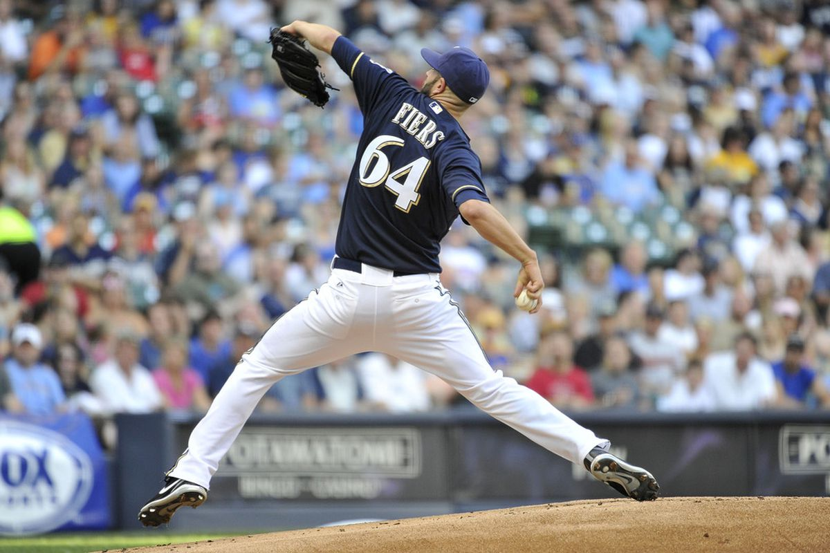 MILWAUKEE, WI - JUNE 30:  Starting pitcher Michael Fiers #64 of the Milwaukee Brewers delivers during the first inning against the Arizona Diamondbacks on June 30, 2012 at Miller Park in Milwaukee, Wisconsin.  (Photo by Brian Kersey/Getty Images)