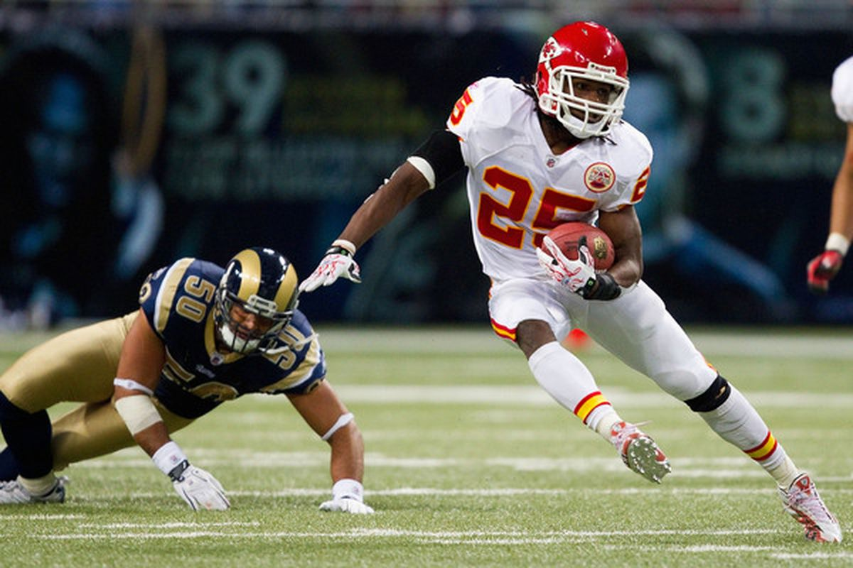 ST. LOUIS MO - DECEMBER 19: Jamaal Charles #25 of the Kansas City Chiefs rushes against the St. Louis Rams at the Edward Jones Dome on December 19 2010 in St. Louis Missouri.  The Chiefs beat the Rams 27-13.  (Photo by Dilip Vishwanat/Getty Images)