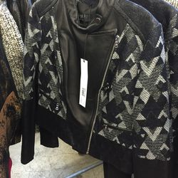 Woven patchwork jacket, $500 (was $1,490)