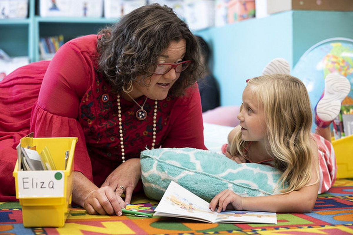 Melissa Miller, Tennessee's 2018-19 teacher of the year, works with a student during reading time at Franklin Elementary School in Franklin.