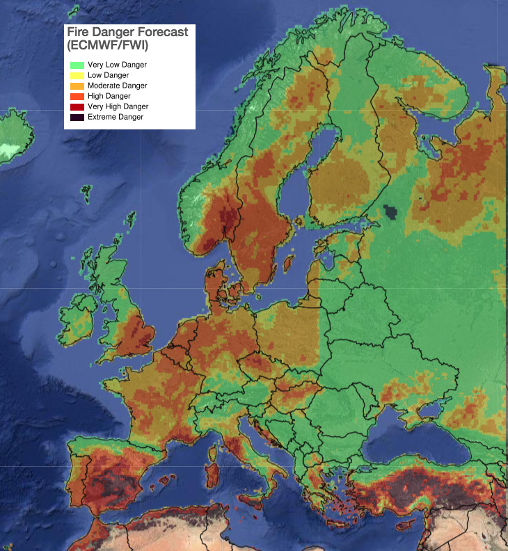Fire risk across Europe