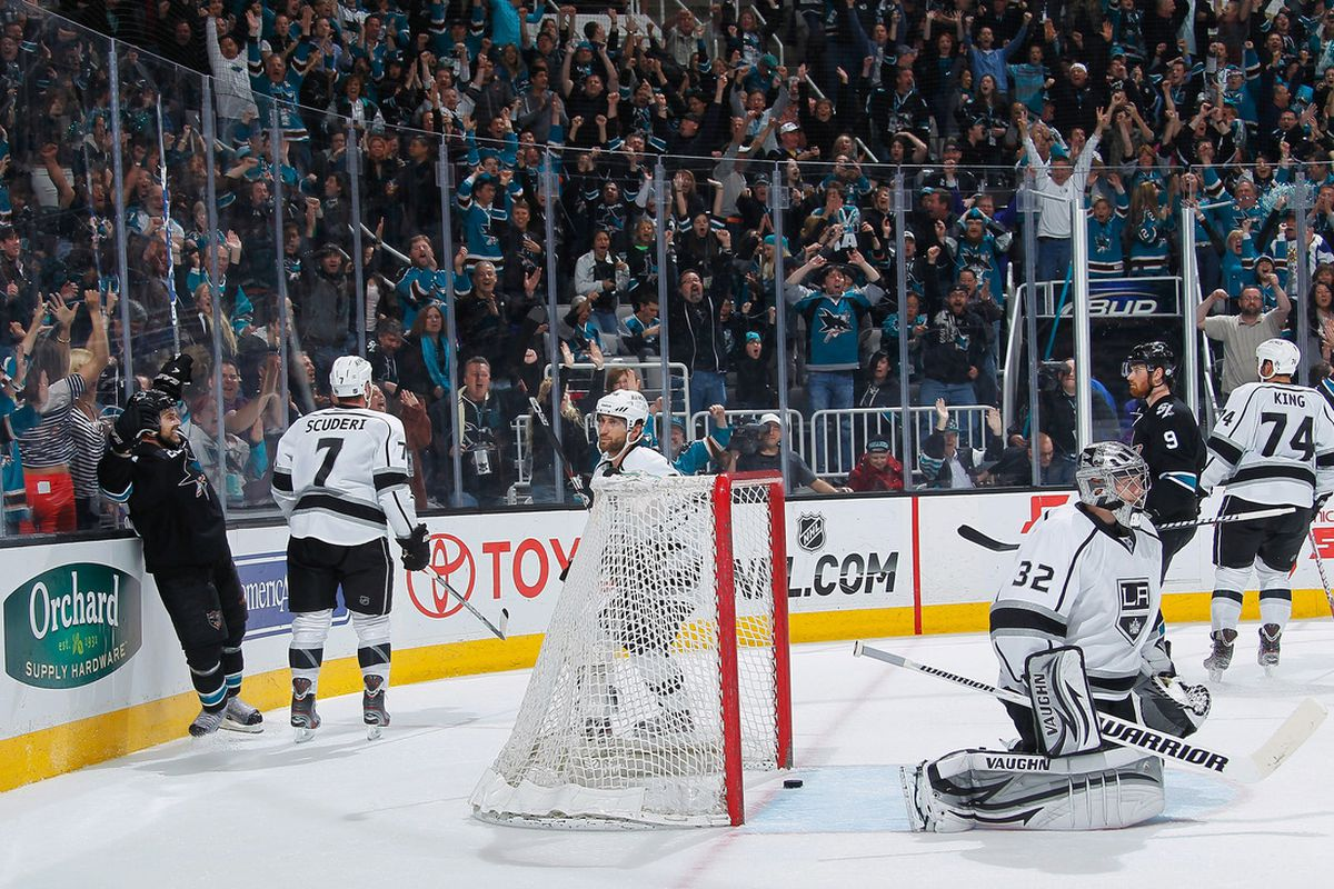 SAN JOSE, CA- APRIL 7: Dan Boyle #22 of the San Jose Sharks celebrates his winning goal against the Los Angeles Kings at HP Pavilion on April 7, 2012 in San Jose, California. (Photo by Don Smith/NHLI via Getty Images)