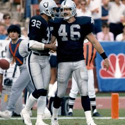 FILE - This Nov. 16, 1986 photo provided by the NFL shows Los Angeles Raiders tight end Todd Christensen (46) being congratulated by Marcus Allen (32) after scoring on a 3-yard touchdown reception during the Raiders 27-14 victory over the Cleveland Browns in Los Angeles. Former Raiders tight end and five-time Pro Bowler Todd Christensen died from complications during liver transplant surgery. He was 57. Christensen's son, Toby Christensen, said his father passed away Wednesday morning, Nov. 13, 2013, at Intermountain Medical Center near his home in Alpine, Utah. (AP Photo/NFL Photos)