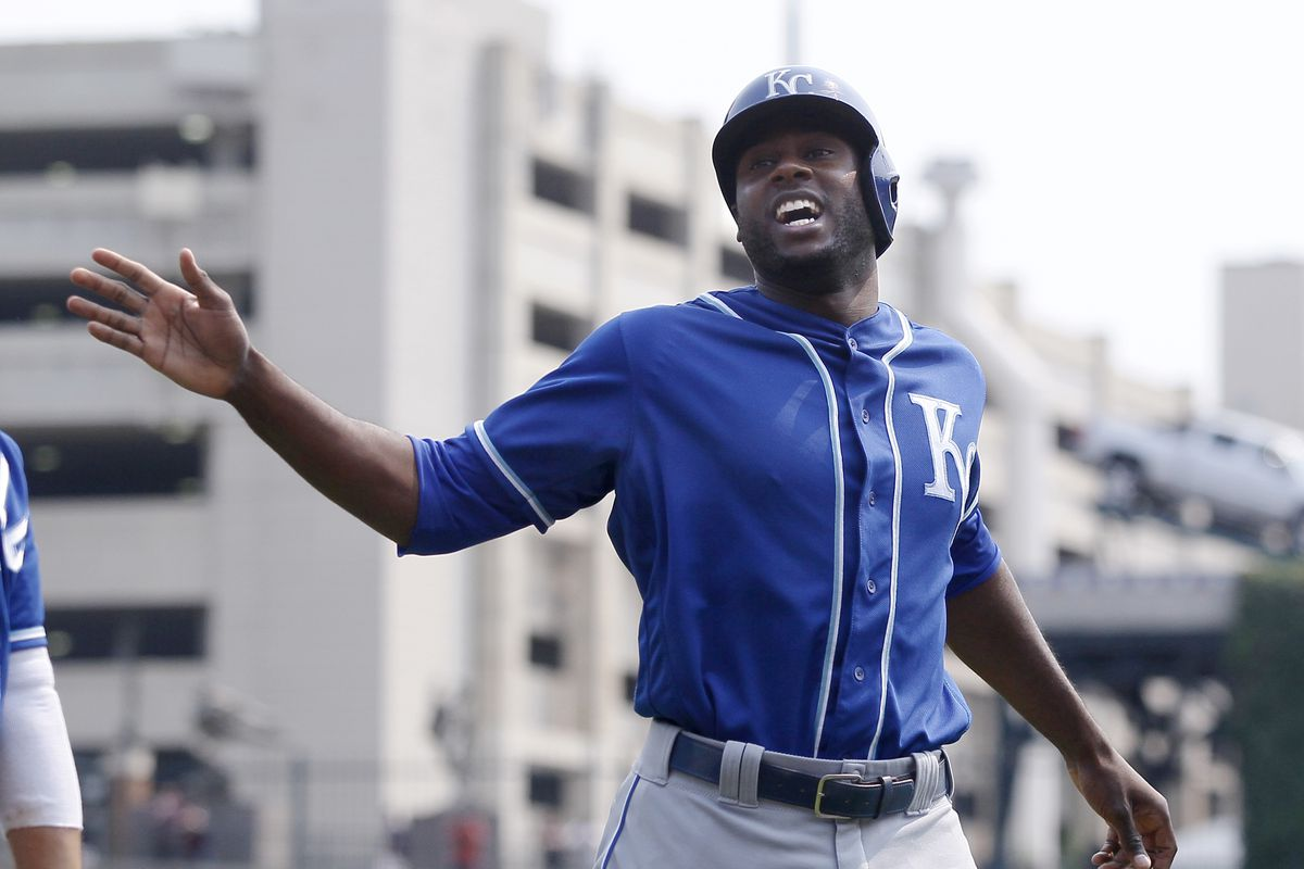 Lorenzo Cain #6 of the Kansas City Royals celebrates after scoring against the Detroit Tigers on a double by Melky Cabrera during the third inning at Comerica Park on September 4, 2017 in Detroit, Michigan. The Royals defeated the Tigers 7-6.