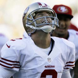 San Francisco 49ers kicker David Akers reacts after kicking a 63-yard field goal during the first half of an NFL football game against the Green Bay Packers Sunday, Sept. 9, 2012, in Green Bay, Wis.