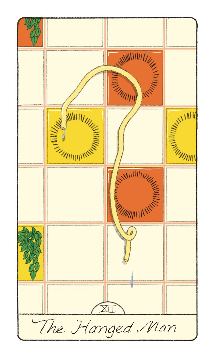 Tarot card of the Hanged Man, featuring a piece of spaghetti stuck to a tile wall